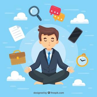 Concepto de meditación con hombre de negocios