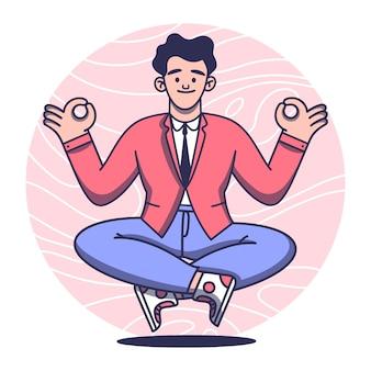 Concepto de meditación con el hombre