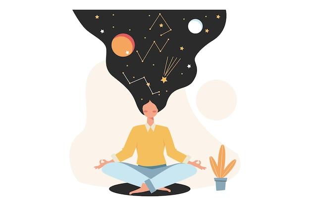 Concepto de meditación durante las horas de trabajo para liberar el estrés