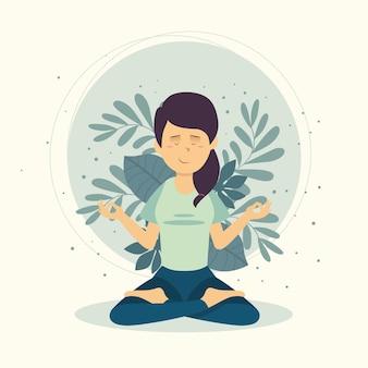 Concepto de meditación con mujer