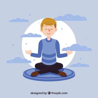 Concepto de meditación con personaje de diseño plano