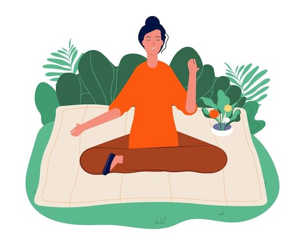 Concepto de meditación. relajante yoga al aire libre, mujer sentada en la naturaleza y meditando. ilustración de control, bienestar y contemplación de la mente y las emociones.
