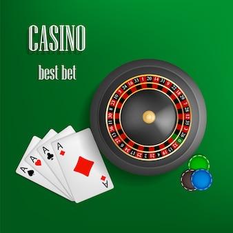 Concepto de la mejor apuesta de la ruleta del casino, estilo realista