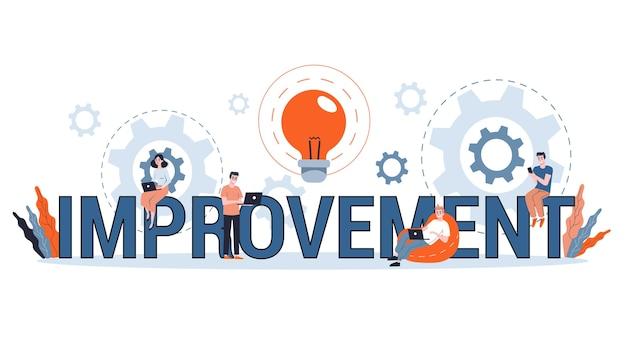 Concepto de mejora, desarrollo personal y progreso empresarial. crecimiento y éxito financiero. encontrar la mejor solución. ilustración