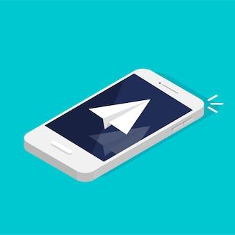 Concepto de mensajería. aviso telefónico y mensaje nuevo. smartphone isométrico con icono de grúa de papel. redes sociales. obteniendo nueva carta.