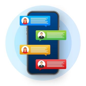Concepto de mensajería. mano que sostiene el teléfono inteligente con gente charlando. burbujas de texto de chat en la pantalla del teléfono.