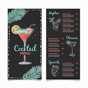 Concepto de menú de cócteles