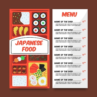 Concepto de menú de comida japonesa