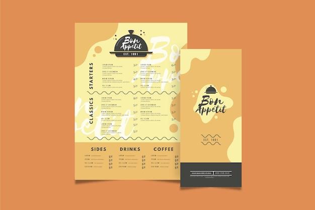 Concepto de menú en diseño plano
