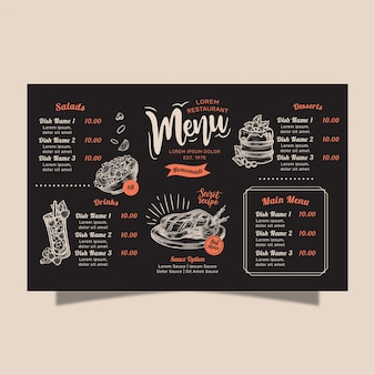 Concepto de menú de restaurante casero