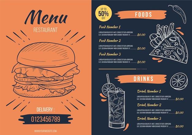 Concepto de menú de restaurante digital