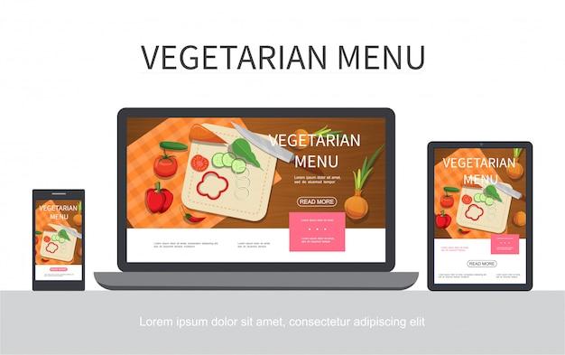 Concepto de menú vegetariano plano con pepino tomate cebolla zanahoria cuchillo de pimiento en tabla de cortar adaptable para pantallas de tabletas móviles portátiles aisladas