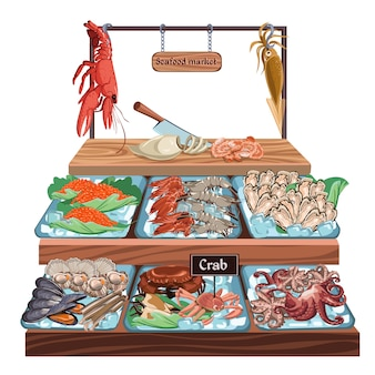 Concepto de mercado de mariscos