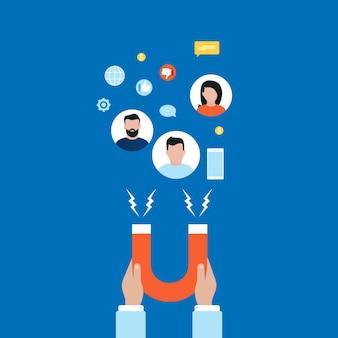 Concepto de mercado objetivo, atraer clientes, retención de clientes plana