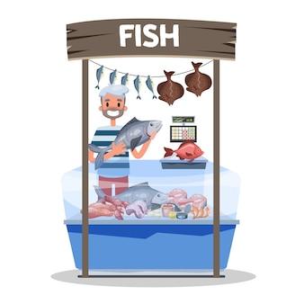 Concepto de mercado de pescado. mariscos detrás de escaparate y vendedor