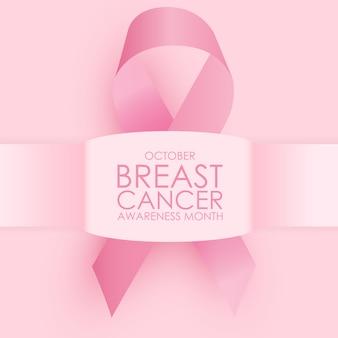 Concepto del mes de concientización sobre el cáncer de mama de octubre. signo de cinta rosa