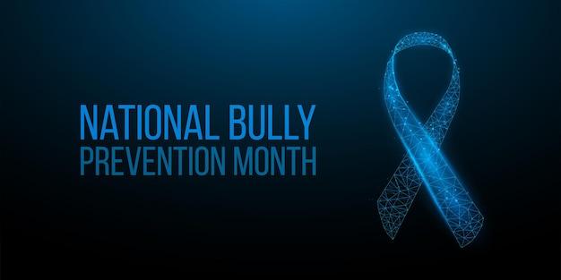Concepto del mes nacional de prevención del acoso escolar. plantilla de banner con cinta azul brillante de baja poli. ilustración vectorial.