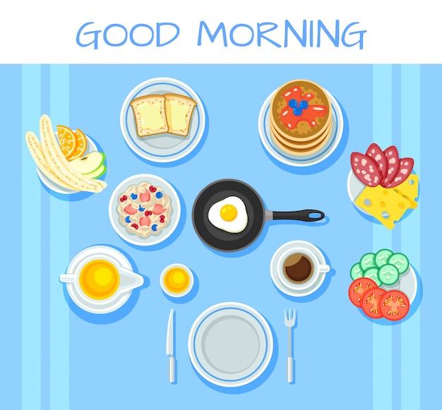 Concepto de mesa de desayuno colorido