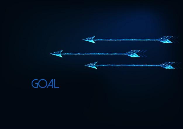 Concepto de meta futurista con tres flechas móviles poligonales bajas brillantes brillantes aisladas en azul oscuro.