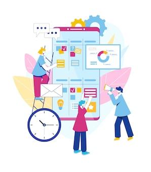 Concepto de metodología ágil. las personas se comunican y planifican el flujo de trabajo. ilustración.