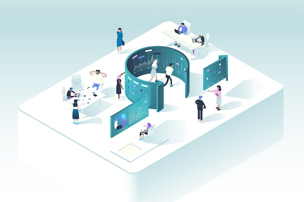 Concepto de metodología scrum. la ilustración muestra cómo las personas interactúan en el proceso de trabajo siguiendo las reglas de la gestión ágil de proyectos.
