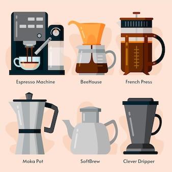 Concepto de métodos de elaboración de café