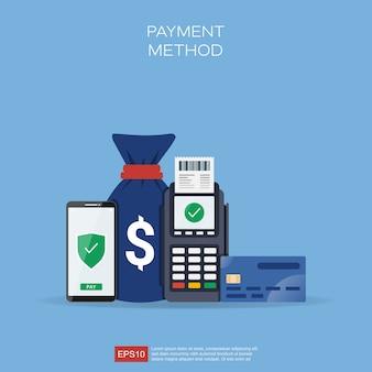 Concepto de métodos de pago con diferentes formas en la ilustración de transacciones.