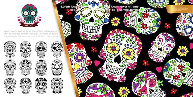 Concepto mexicano del día de los muertos con calaveras de azúcar de estilo monocromo y colorido con corazones y adornos florales, ilustración