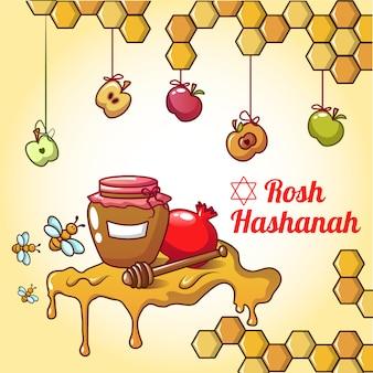 Concepto de miel de rosh hashaná, estilo de dibujos animados