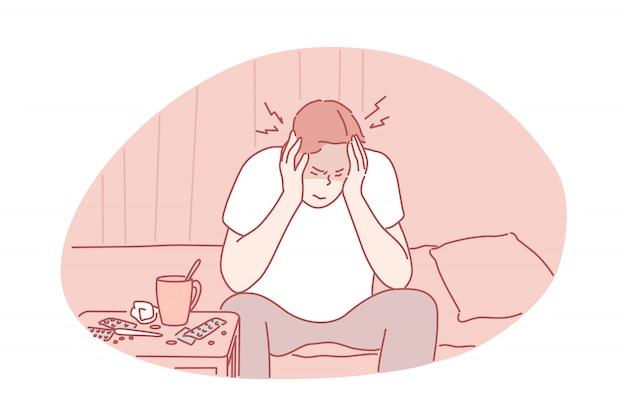 Concepto de migraña, dolor de cabeza, enfermedad