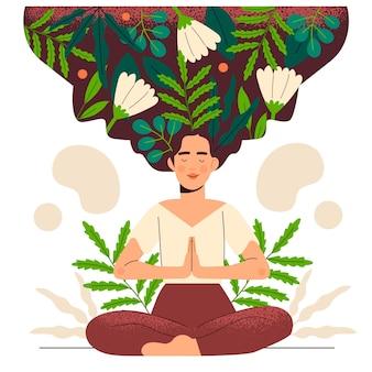 Concepto de mindfulness dibujado a mano con personajes
