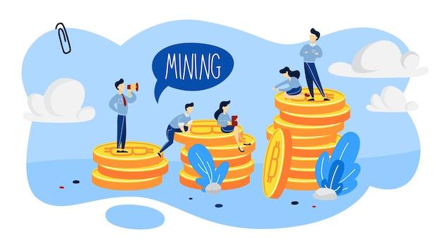 Concepto de minería de criptomonedas. la gente que trabaja con bitcoins se amontona. idea de blockchain e innovación digital. ilustración