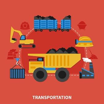 Concepto de minería de diseño plano con transporte de elementos de carbón sobre fondo rojo