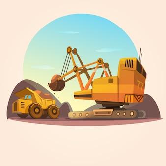 Concepto de minería con máquinas de industria pesada y estilo retro de dibujos animados de camión de carbón