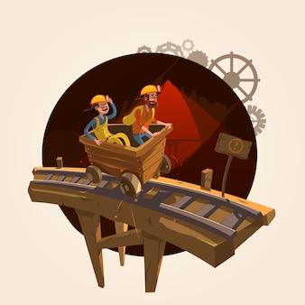Concepto de minería con trabajadores montando un estilo retro de dibujos animados de carro de carbón