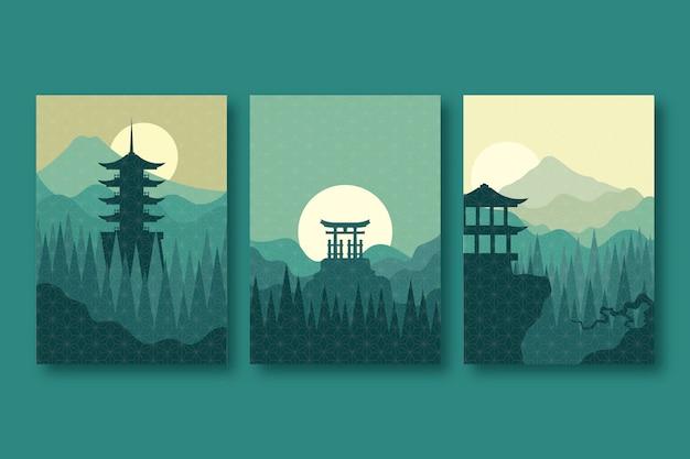 Concepto minimalista de colección de portadas japonesas