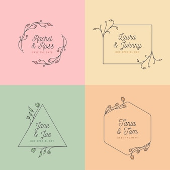 Concepto minimalista para monogramas de boda.