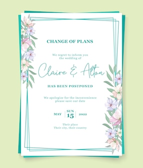 Concepto minimalista de tarjeta de boda pospuesta