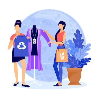 Concepto de moda sostenible dibujado a mano