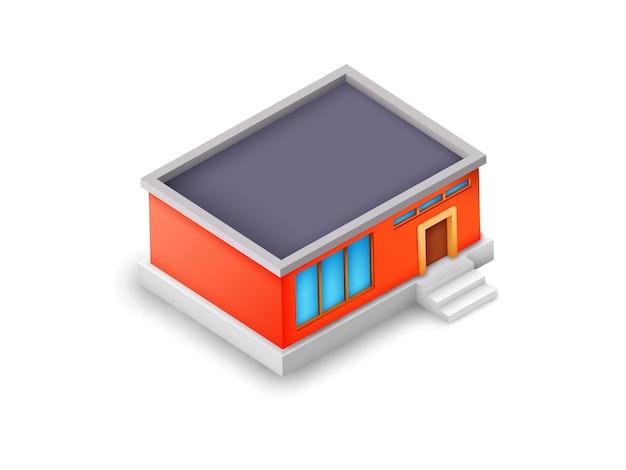Concepto de modelo de edificio industrial isométrico con exterior colorido en blanco aislado