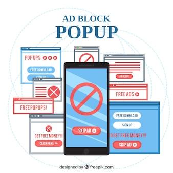 Concepto moderno de ad block con diseño plano