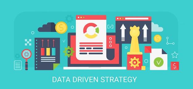 Concepto moderno banner de estrategia basada en datos con iconos y texto.