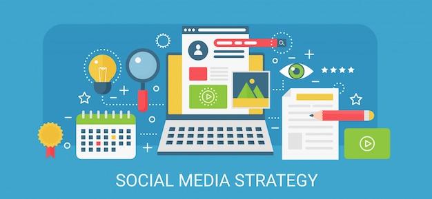 Concepto moderno banner de estrategia de redes sociales con iconos y texto.