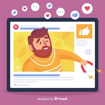 Concepto moderno de bloguero con diseño plano