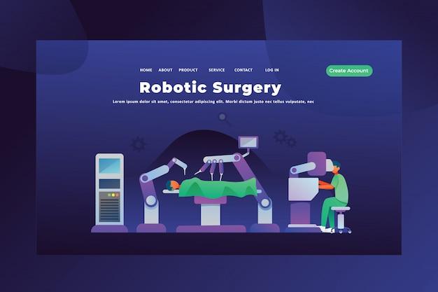 Concepto moderno de cirugía robótica de la página de inicio de encabezado de página web médica y científica