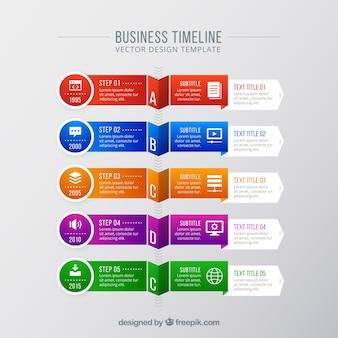 Concepto moderno colorido de línea de tiempo de negocios