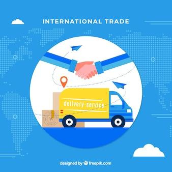 Concepto moderno de comercio internacional con diseño plano