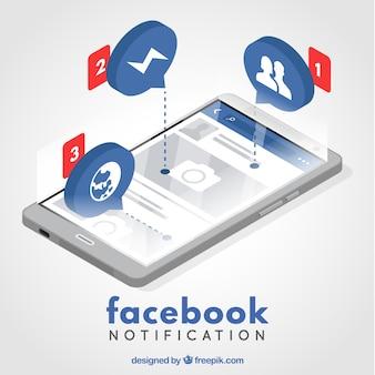 Concepto moderno de notificación de facebook