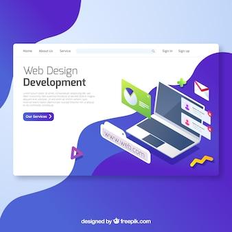 Concepto moderno de página de destino de diseño web