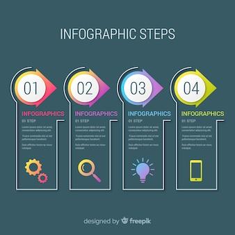 Concepto moderno de pasos infográficos gradientes
